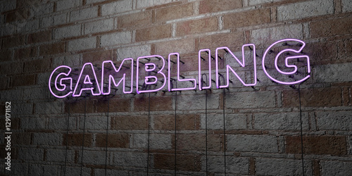 GAMBLING - Glowing Neon Sign on stonework wall - 3D rendered royalty free stock illustration плакат