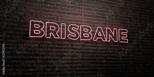 BRISBANE -Realistic Neon Sign on Brick Wall background - 3D rendered royalty free stock image. Can be used for online banner ads and direct mailers..