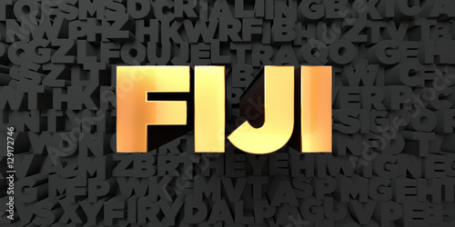 фотография  Fiji - Gold text on black background - 3D rendered royalty free stock picture