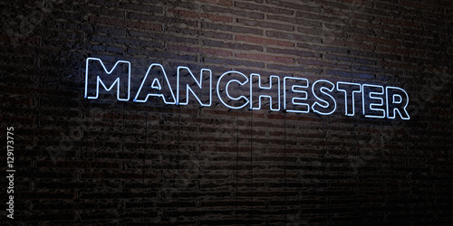 MANCHESTER -Realistic Neon Sign on Brick Wall background - 3D rendered royalty free stock image. Can be used for online banner ads and direct mailers..