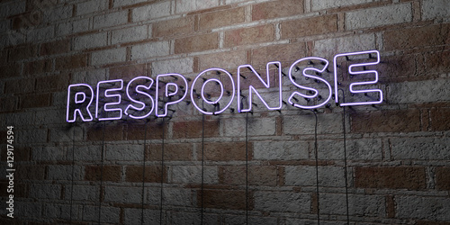 Fotografie, Obraz  RESPONSE - Glowing Neon Sign on stonework wall - 3D rendered royalty free stock illustration