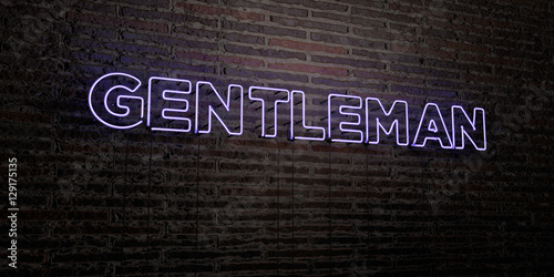 Fotografie, Obraz  GENTLEMAN -Realistic Neon Sign on Brick Wall background - 3D rendered royalty free stock image
