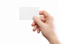 Male Hand Holding Business Card At Isolated Background Mockup