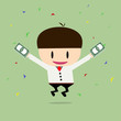 Happy businessman with big bonus. Profit, bonus, income. Vector,
