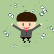 Happy businessman with cheques on a large sum. Profit, bonus, in