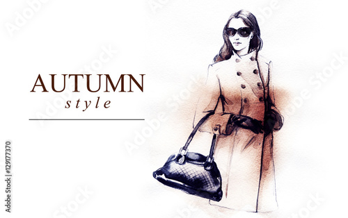 autumn style. fashion illustration . woman in coat. autumn street look. watercolor painting.