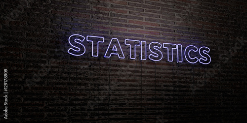 STATISTICS -Realistic Neon Sign on Brick Wall background - 3D rendered royalty free stock image. Can be used for online banner ads and direct mailers..