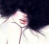 Woman portrait. Fashion illustration. Watercolor painting - 129179137