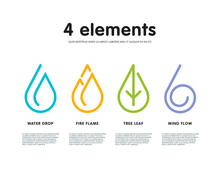 Nature Infographic Elements. Water, Fire, Earth, Air.
