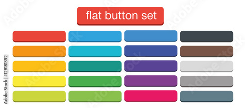 Fotografía  Flat Web Buttons Set Vector Isolated Material Design
