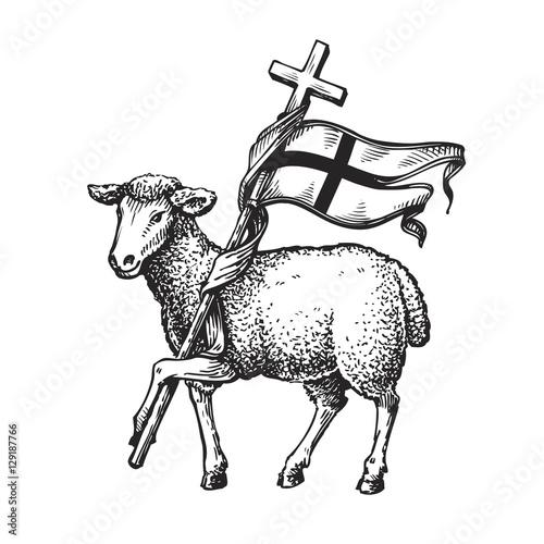 Foto Lamb with Cross. Religion symbol. Sketch vector illustration