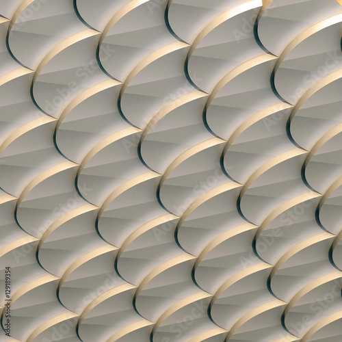 3d illustration. The abstract three-dimensional background based on the pattern of scales. Round shapes are superimposed on each other in perspective. Bronze shade render. © struvictory
