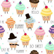Seamless Pattern With Cupcake Characters Isolated. Cute Baby And Kids Background. Vector Illustration