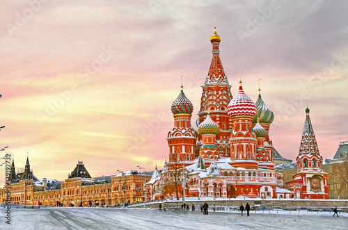 Photo Stands Historical buildings Moscow,Russia,Red square,view of St. Basil's Cathedral in winter