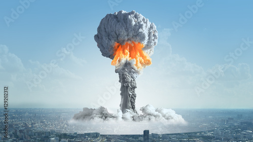 Fotografie, Obraz  The explosion of a nuclear bomb in the city.