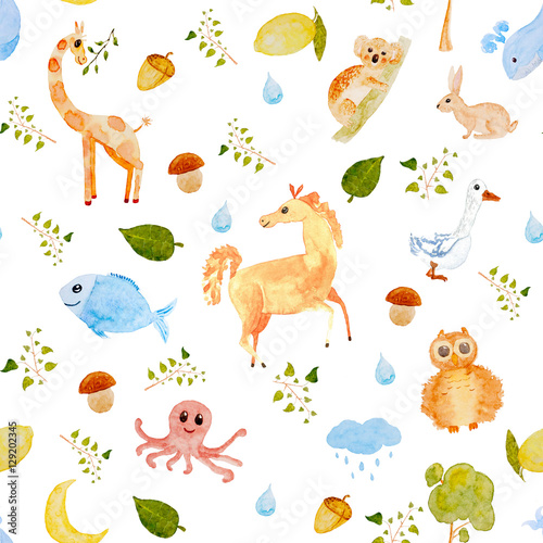 Poster de jardin Zoo Watercolor seamless Animal pattern
