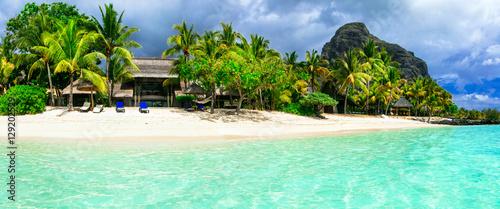 Tuinposter Eiland Turquoise sea and white sandy beaches of Mauritius island, Le Morne