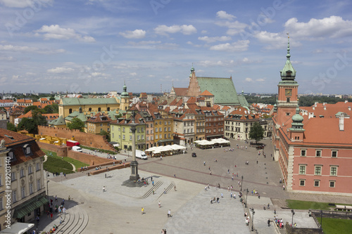 Photo  Warsaw. General view of the central square with a bird's-eye view