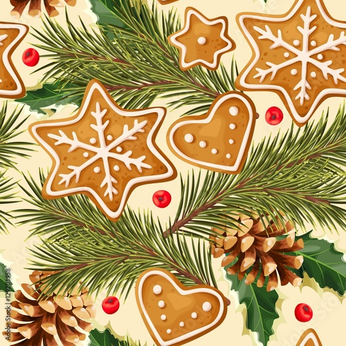 Cotton fabric Christmas ginger seamless