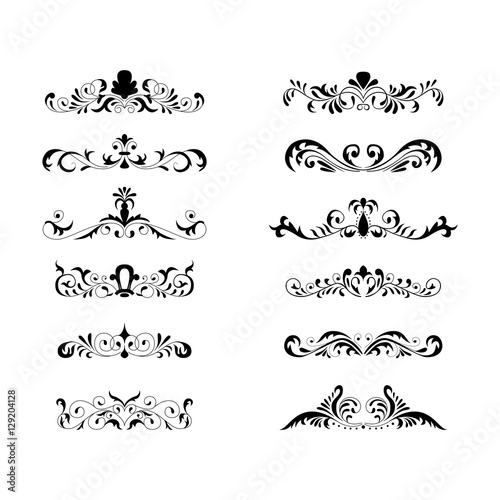 Floral decorative design element collection vintage style traced by hand from own sketch Canvas Print