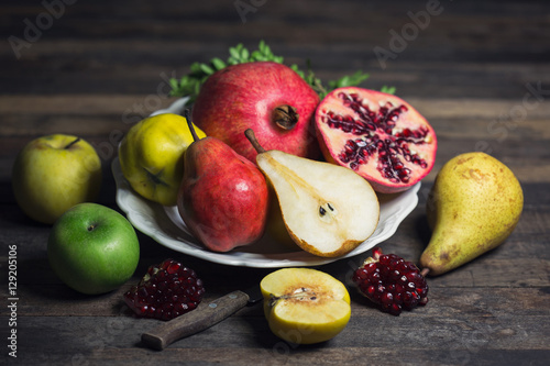 Fresh fruits on the plate Poster