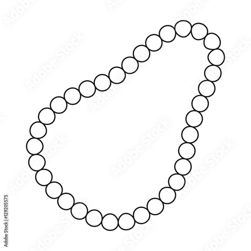 Fotografie, Obraz Pearl necklace icon in outline style isolated on white background