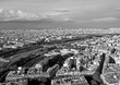 Aerial view from the Eiffel tower, Spring day in Paris, France, Black-and-white photo