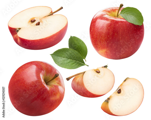 Red apple whole pieces set isolated on white background