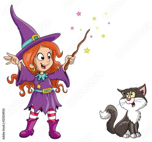 Fotografie, Obraz  Vektor Illustration einer niedlichen Hexe