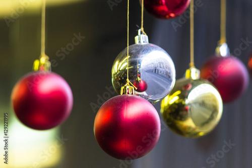 Palline Di Natale.Palline Di Natale Appese Ad Un Filo Stock Photo Adobe Stock
