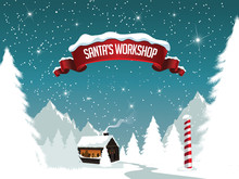 Hristmas Santa's Workshop At The Scenic North Pole. EPS 10 Vector.