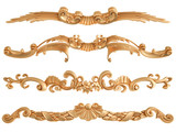 Gold carved ornament on a white background. Isolated