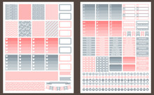 Grey And Pink Vector Printable Stickers For Planner