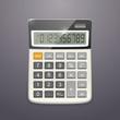 Vector single realistic calculator, top view