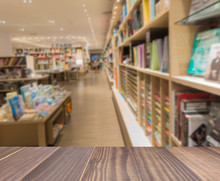 Wooden Board Empty Table In Front Blurred Photo Of Book Store