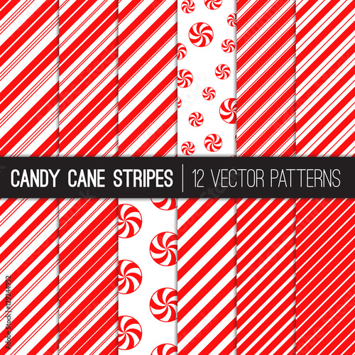 obraz lub plakat Candy Cane Stripes and Peppermints Vector Patterns in Red and White. Popular Christmas Background. Variable thickness diagonal lines. Pattern Swatches Made with Global Colors.