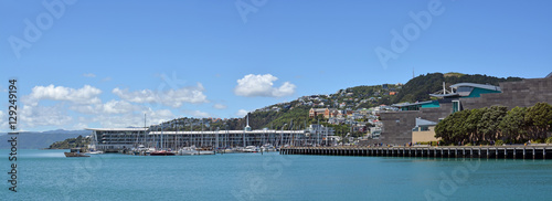Panoramic view of Wellington Harbour, Oriental Bay and Clyde Qua