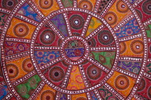 Indian Colorful Tapestry With Mirrors