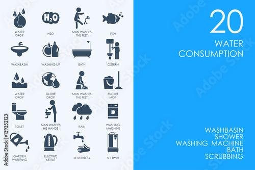 Fotografía  Set of water consumption icons
