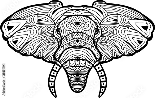monochrome hand drawn ink drawing painted elephant on white