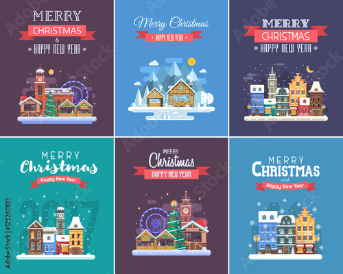new year and christmas greeting cards winter holidays