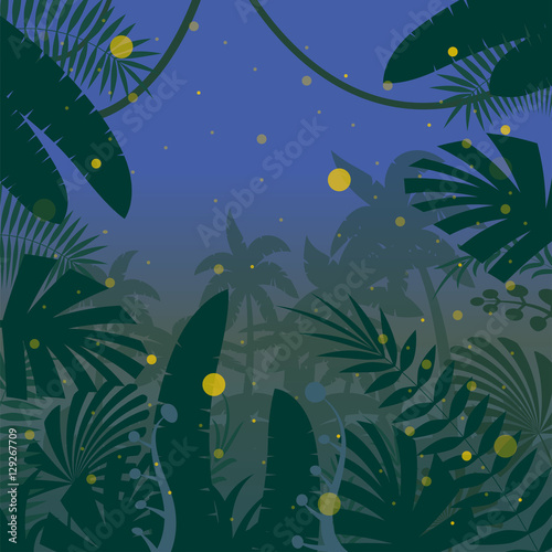 Tuinposter Vlinders Jungle Flat Background17