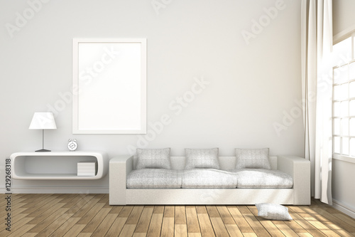 3D Rendering : illustration of living-room interior with book shelf ...