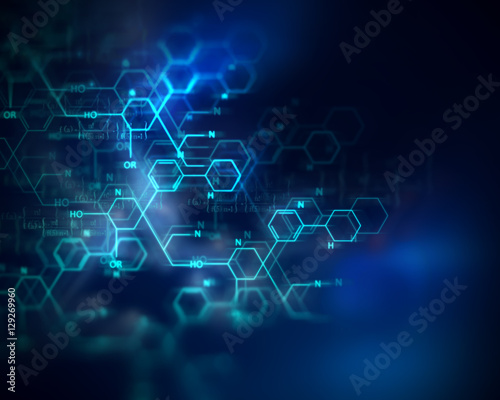 chemical science, medical substance and molecules background ill
