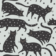 Seamless Pattern, Black Cats With Stars
