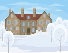 Image Of A Old English House On A Background Of A Winter Landscape. Vector Illustration.