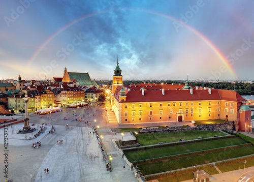 Rainbow over Warsaw Old Town square, Poland