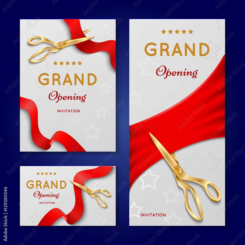 Fotografia Ribbon Cutting With Scissors Grand Opening