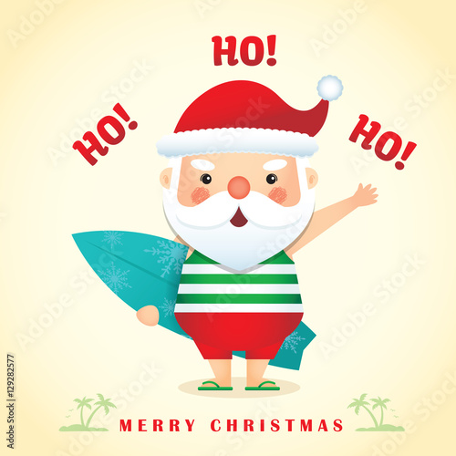 Merry christmas greetings with cute cartoon santa claus wearing tank merry christmas greetings with cute cartoon santa claus wearing tank top short pants slippers m4hsunfo