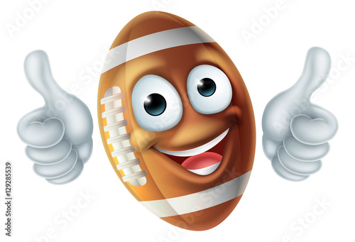 Cartoon American Football Ball Mascot Canvas Print